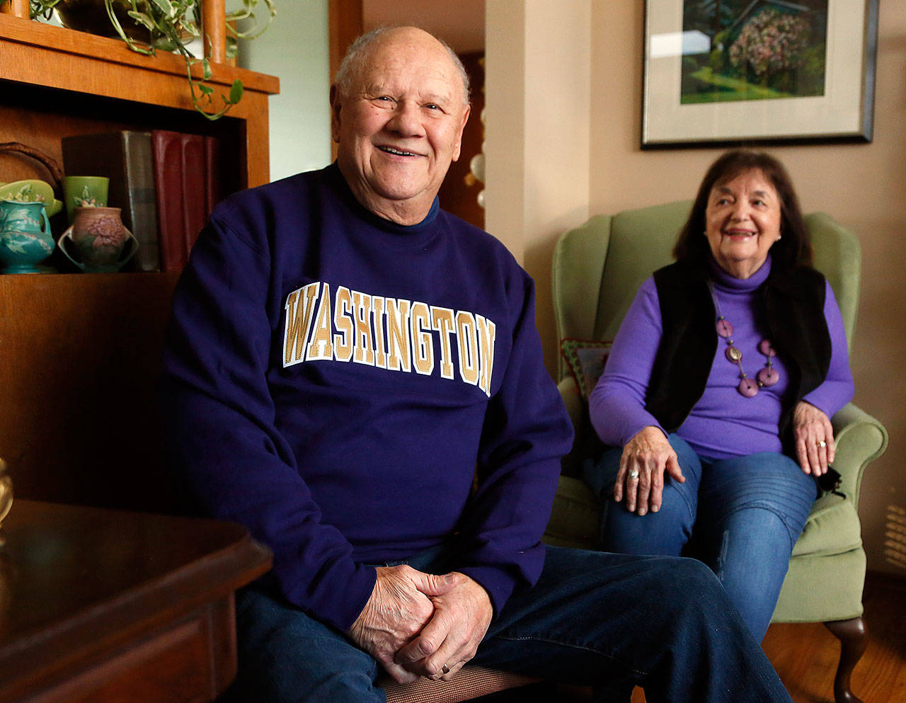 A 1956 University of Washington graduate, Thor Donald Linde and his wife, Pat, have been Husky season ticket holders since 1964, attending 15 bowl games, including seven Rose Bowls. In all the regular Husky football games during that span, they have only missed a half-dozen or so. (Dan Bates / The Herald)