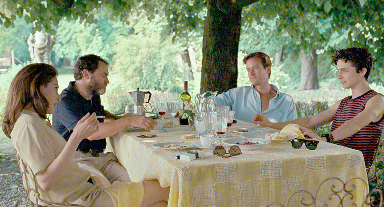 "From left, Amira Casar as Annella, Michael Stulhbarg as Mr. Perlman, Armie Hammer as Oliver and Timothee Chalamet as Elio in enjoy a villa in Italy in ""Call Me By Your Name."" (Sony Pictures Classics)"