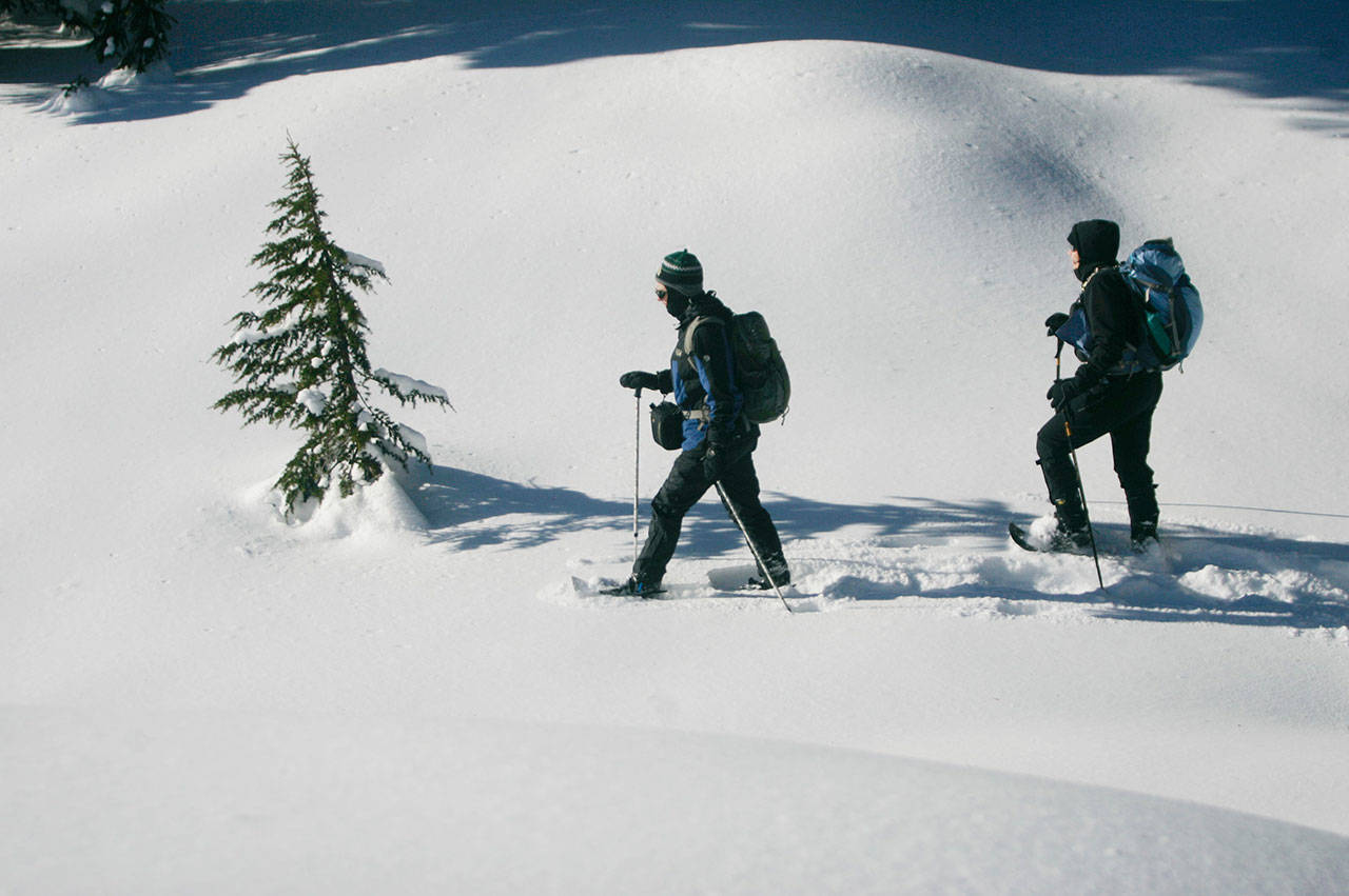 Andy Boos (left) leads Kristin Penn as the two find fresh snow to stomp on during an Everett Parks and Recreation snowshoe trip near Grace Lakes at Stevens Pass in December, 2013. (Samuel Wilson / Herald file photo)