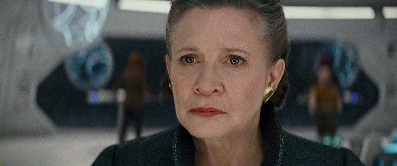 "The late Carrie Fisher portrayed General Leia for the last time in ""Star Wars: The Last Jedi."" (Lucasfilm via AP)"