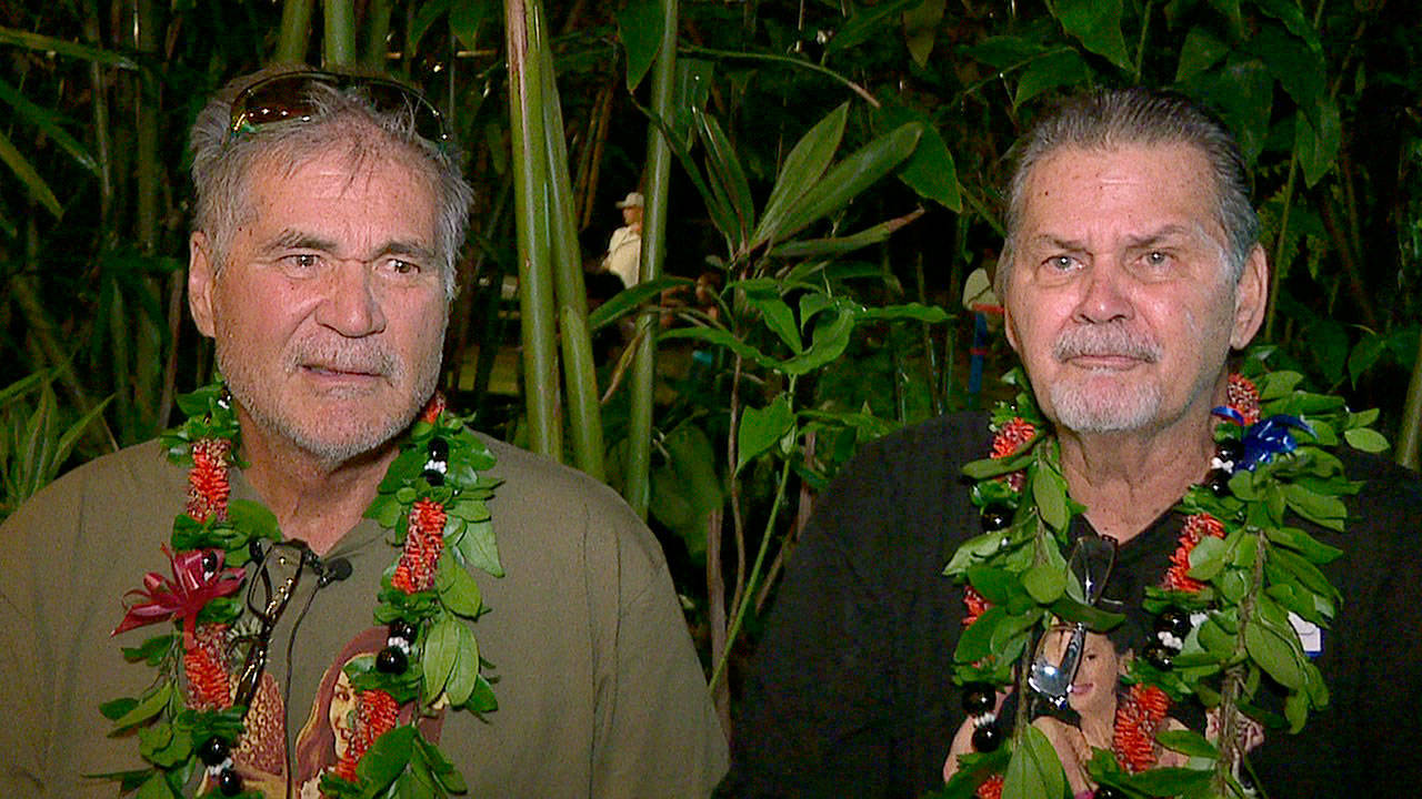 Alan Robinson and Walter Macfarlane are interviewed in Honolulu. The two Hawaii men grew up as best friends and recently learned that they're actually brothers. They revealed the surprise to family and friends over the holidays. The two, who have been friends for 60 years, were born in Hawaii 15 months apart and met in the sixth grade. (KHON via AP)