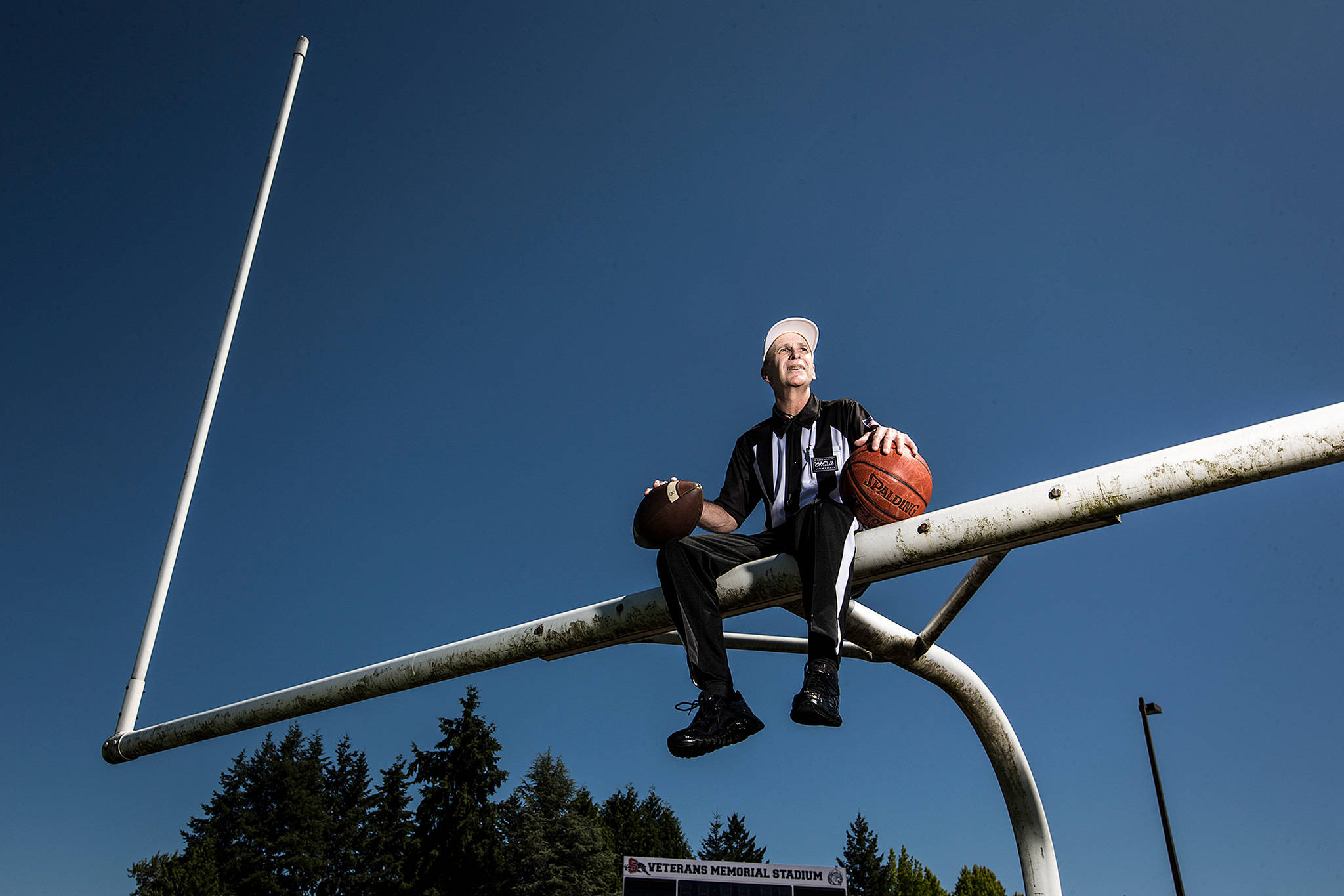 With more than 40 years of officiating under his belt for Snohomish County prep football and basketball, Tom Freal, of Lake Stevens, was inducted into the Washington Officials Hall of Fame at an Aug. 4 ceremony in Yakima. (Ian Terry / The Herald)