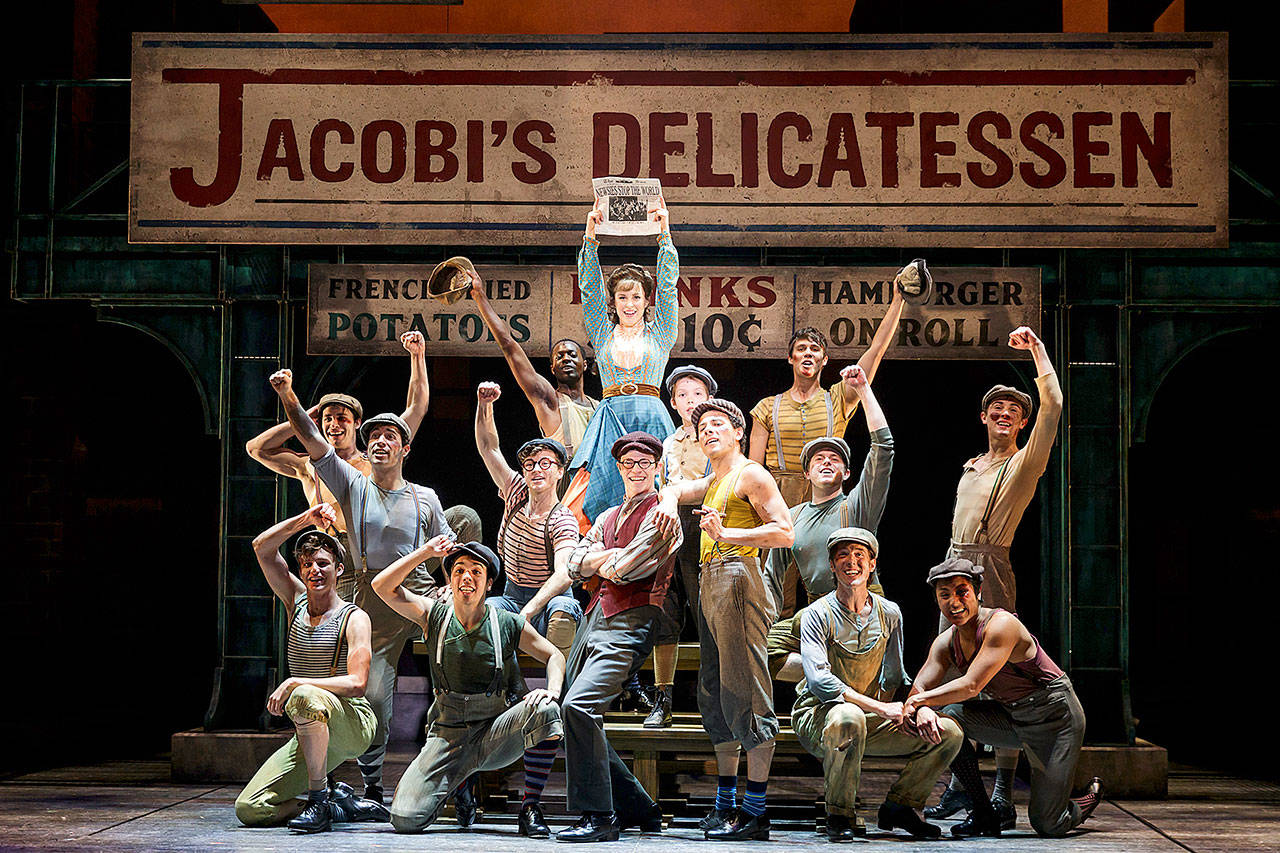 "Village Theatre's ""Newsies,"" based on the 1992 film of the same name, opens Friday at the Everett Performing Arts Center. (Mark Kitaoka)"