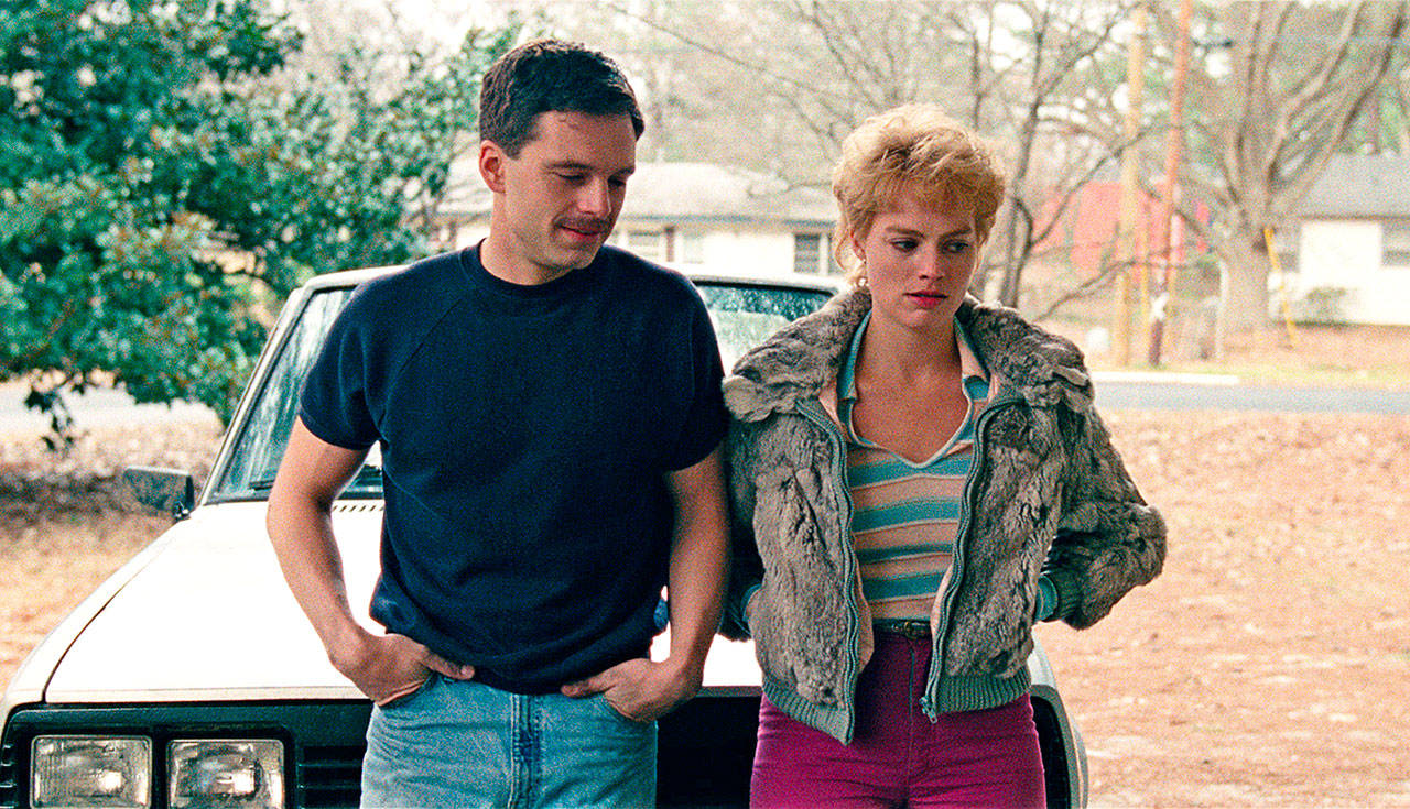 "Sebastian Stan as Jeff Gillooly, left, and Margot Robbie as Tonya Harding in a scene from ""I, Tonya."" Robbie was nominated for a Golden Globe for best actress in a motion picture comedy or musical for her role in the film. The 75th Golden Globe Awards will be held Jan. 7 on NBC. (Neon)"