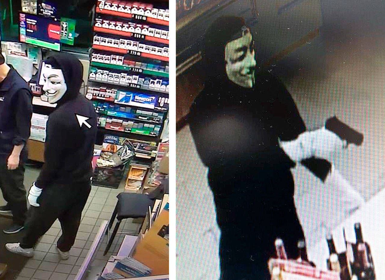 Security footage shows a suspect in two heists at gas stations in the Monroe area.