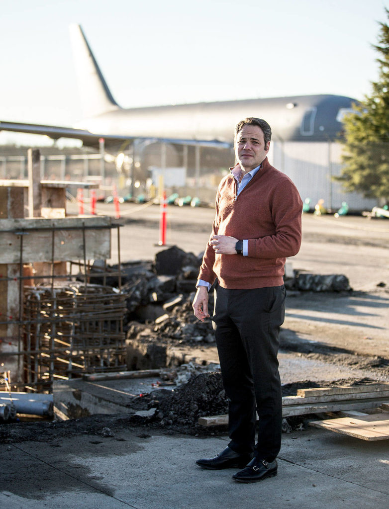 Propeller Airports CEO and founder Brett Smith at the construction site of his company's new commercial airport terminal at Paine Field in Everett. (Ian Terry / The Herald)