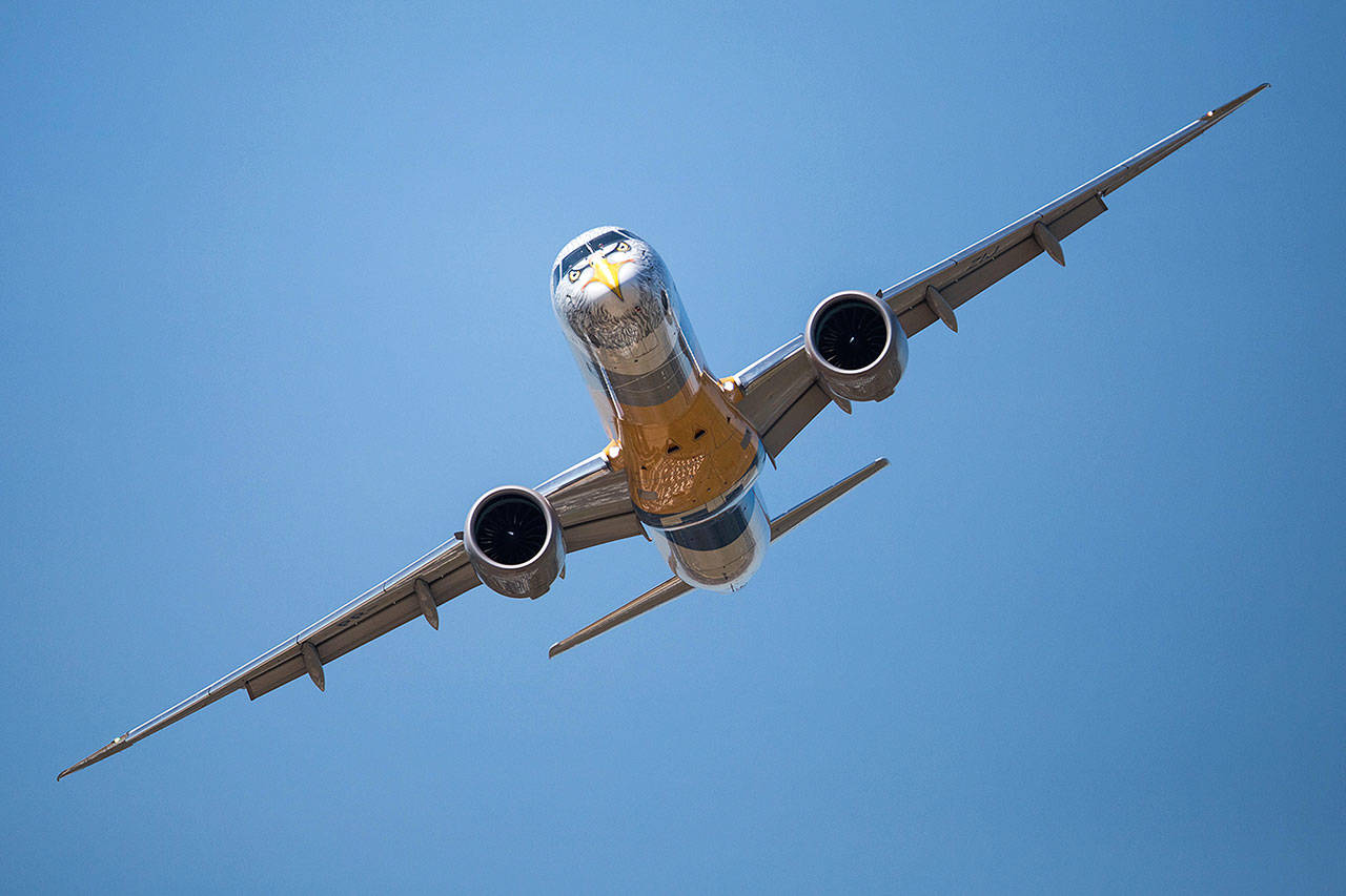 An Embraer E195 jetliner. Boeing has been in talks to acquire the Brazilian airplane maker. (Embraer)