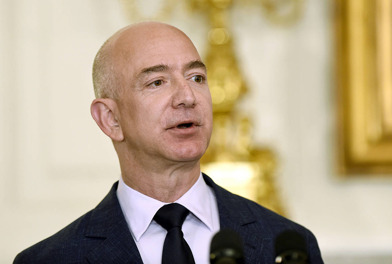 In this May 2016 photo, Jeff Bezos, the founder and CEO of Amazon.com, speaks in the State Dining Room of the White House in Washington. (AP Photo/Susan Walsh, File)