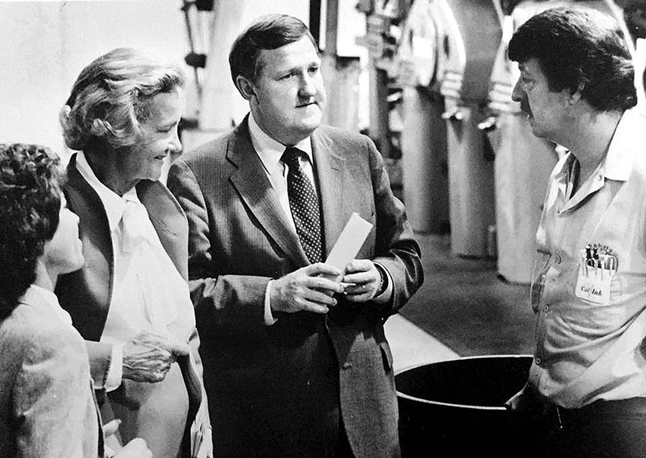 Katharine Graham (second from left), then CEO and chairwoman of the board of The Washington Post Co., meets with Joann Byrd (far left), then executive editor of The Daily Herald, then-Herald Publisher Larry Hanson (second from right), and then-press foreman Larry Earlywine during her visit to Everett on Sept. 20, 1984. The Washington Post. Co. owned The Herald from 1978 until 2013. (Herald archives)