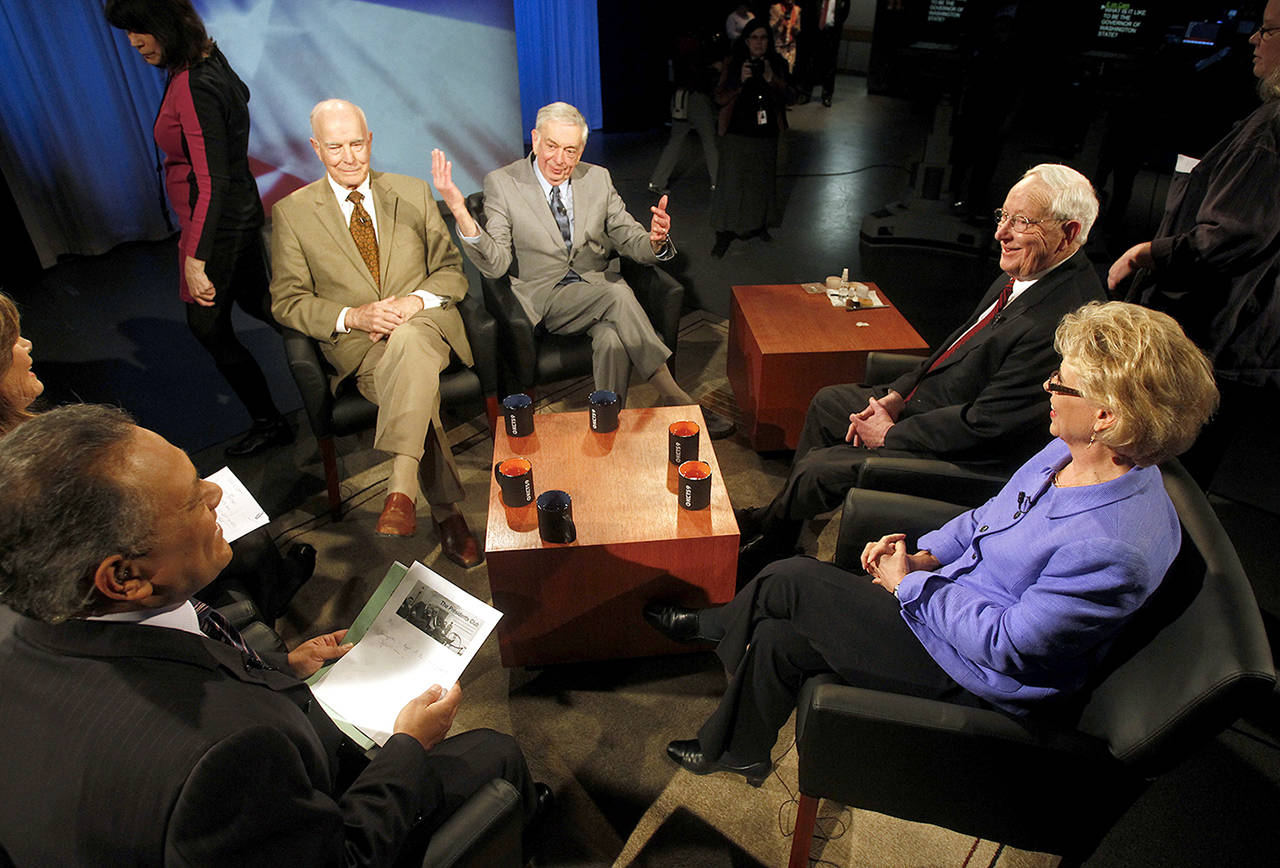"""Former Washington state governors (from left) Dan Evans, Mike Lowry, John Spellman and Chris Gregoire sit down with KCTS 9 television for a taping of """"The Governors"""" on March 5, 2013. (Jennifer Buchanan / Herald file)"""