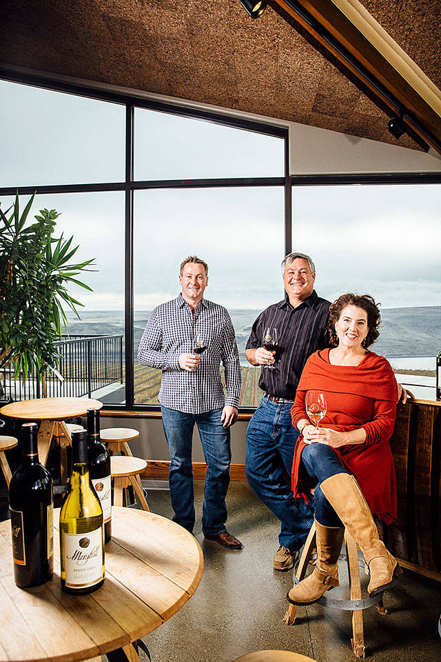 From left, owners Craig and Vicki Leuthold and winemaker Richard Batchelor lead Maryhill Winery in Goldendale. Maryhill has become one of Washington's top producers in the past few years. (Maryhill Winery)