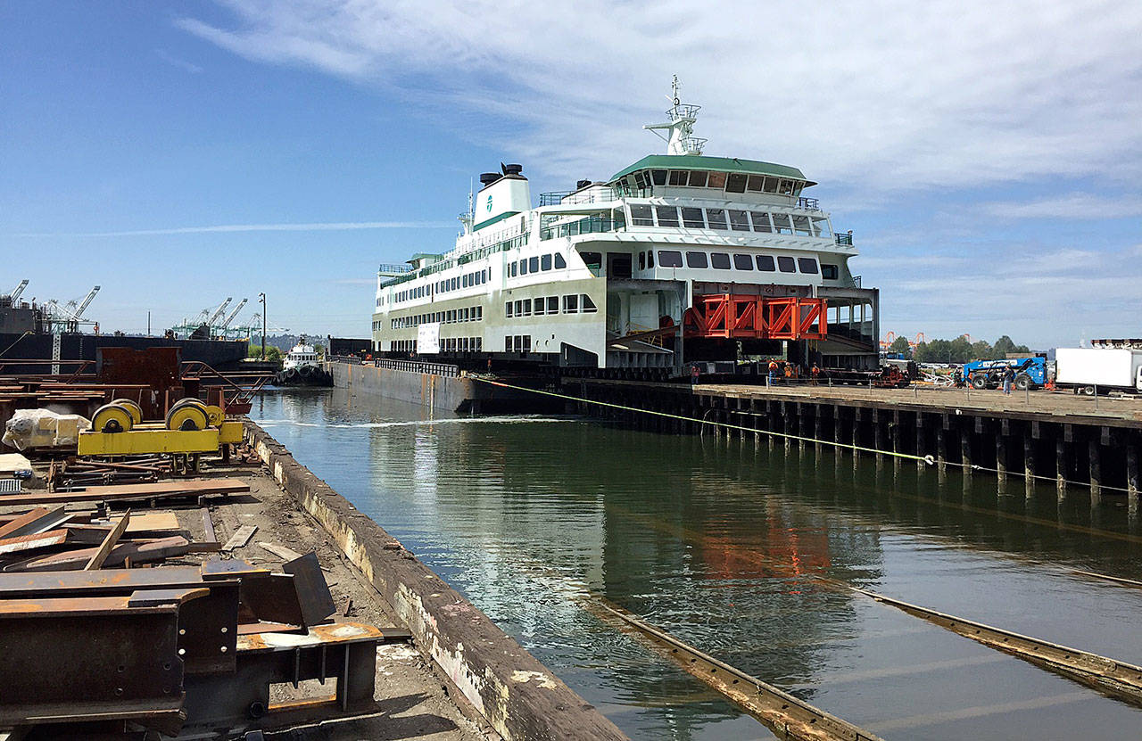 The Suquamish's 1,110-ton superstructure is joined to its hull at Vigor shipyard on Aug. 18. The 144-car ferry will join the Mukilteo-Clinton route in 2019 to help with the summer rush. (WSDOT photo)