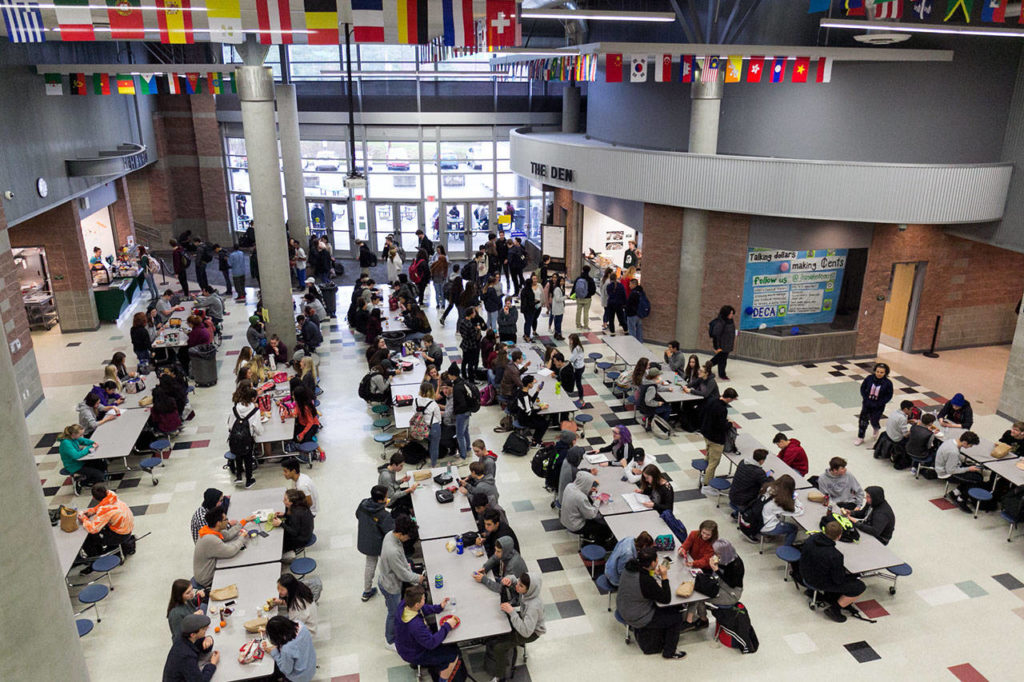 The converted and now covered former outdoor courtyard serves as additional seating for lunch Monday morning at Henry M. Jackson High School in Mill Creek on Jan. 22. (Kevin Clark / The Daily Herald)
