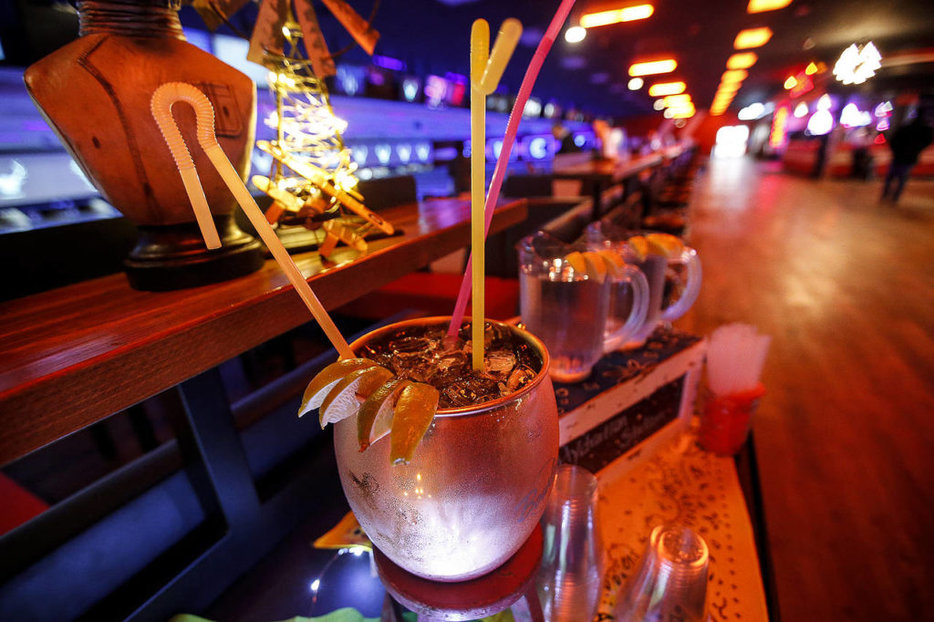 """The """"Mega Mule"""" drink is seen at the newly opened Bowlero in Lynnwood on Feb. 2. (Ian Terry / The Herald)"""