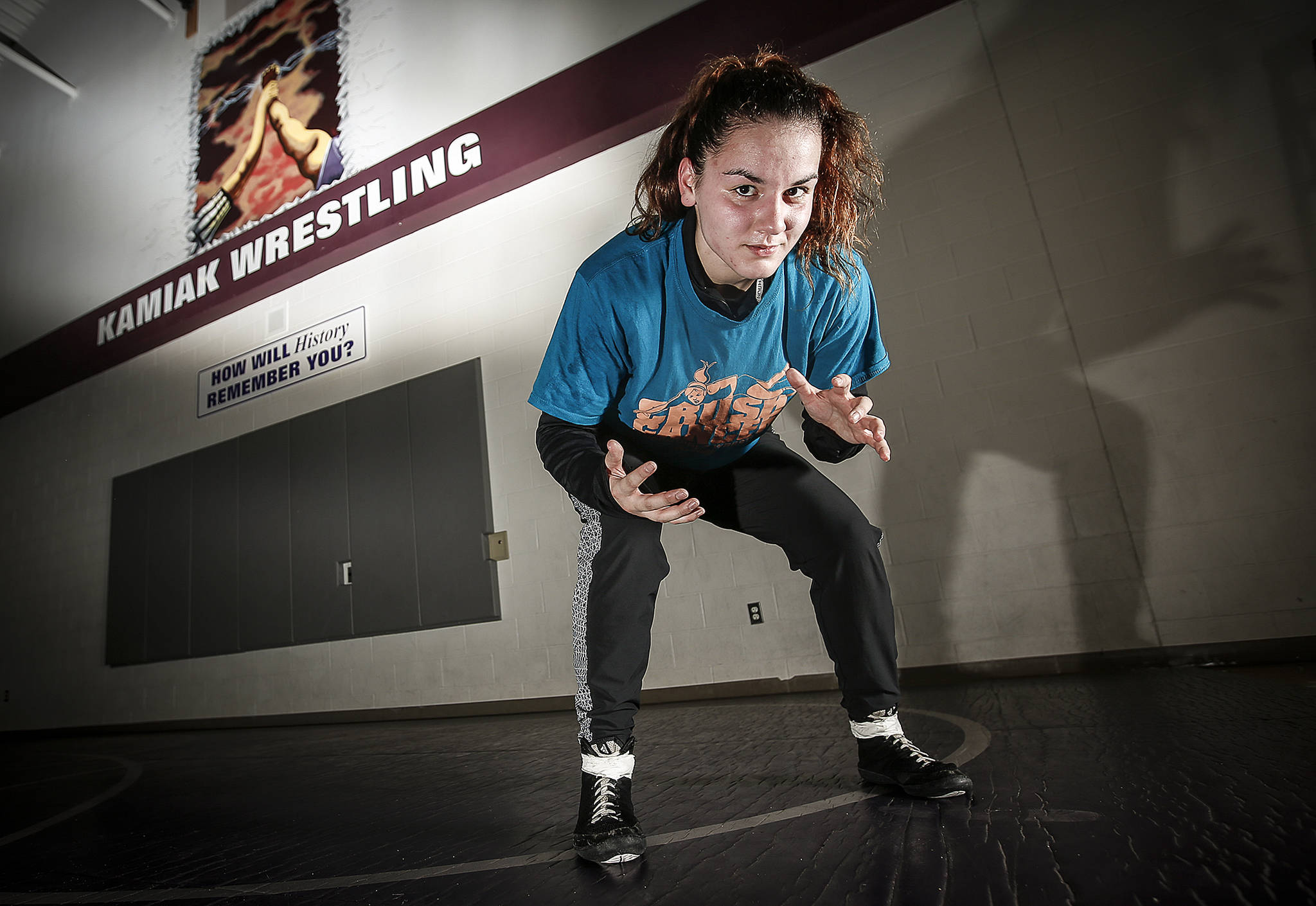 Kamiak senior Ally de la Cruz will look to defend her state wrestling title this weekend at Mat Classic XXX in Tacoma. (Ian Terry / The Herald)