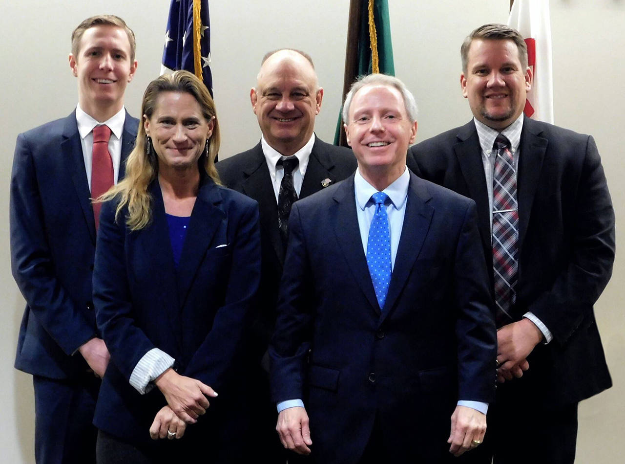 Back row, L-R: Nate Nehring, Brian Sullivan, Sam Low; front row, L-R: Stephanie Wright, Terry Ryan. (Snohomish County Council)
