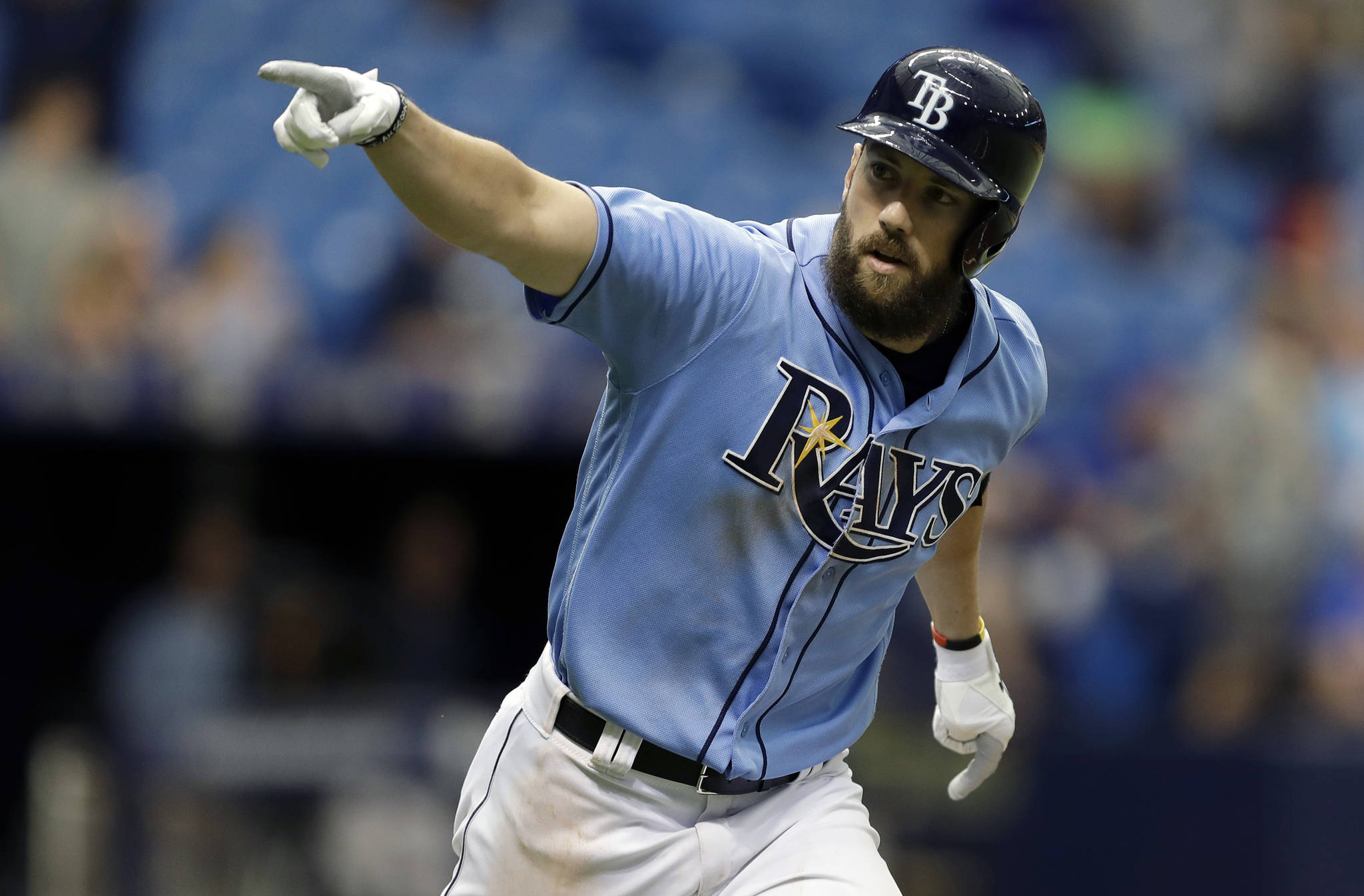 Tampa Bay Rays' Steven Souza Jr. celebrates after his walk off home run against Milwaukee Brewers relief pitcher Jacob Barnes during the ninth inning on Aug. 6, 2017. The Arizona Diamondbacks sent infielder Brandon Drury to the New York Yankees and received outfielder Steven Souza Jr. from the Rays in a three-team trade that includes five players, Tuesday, Feb. 20, 2018. (AP Photo/Chris O'Meara, File)