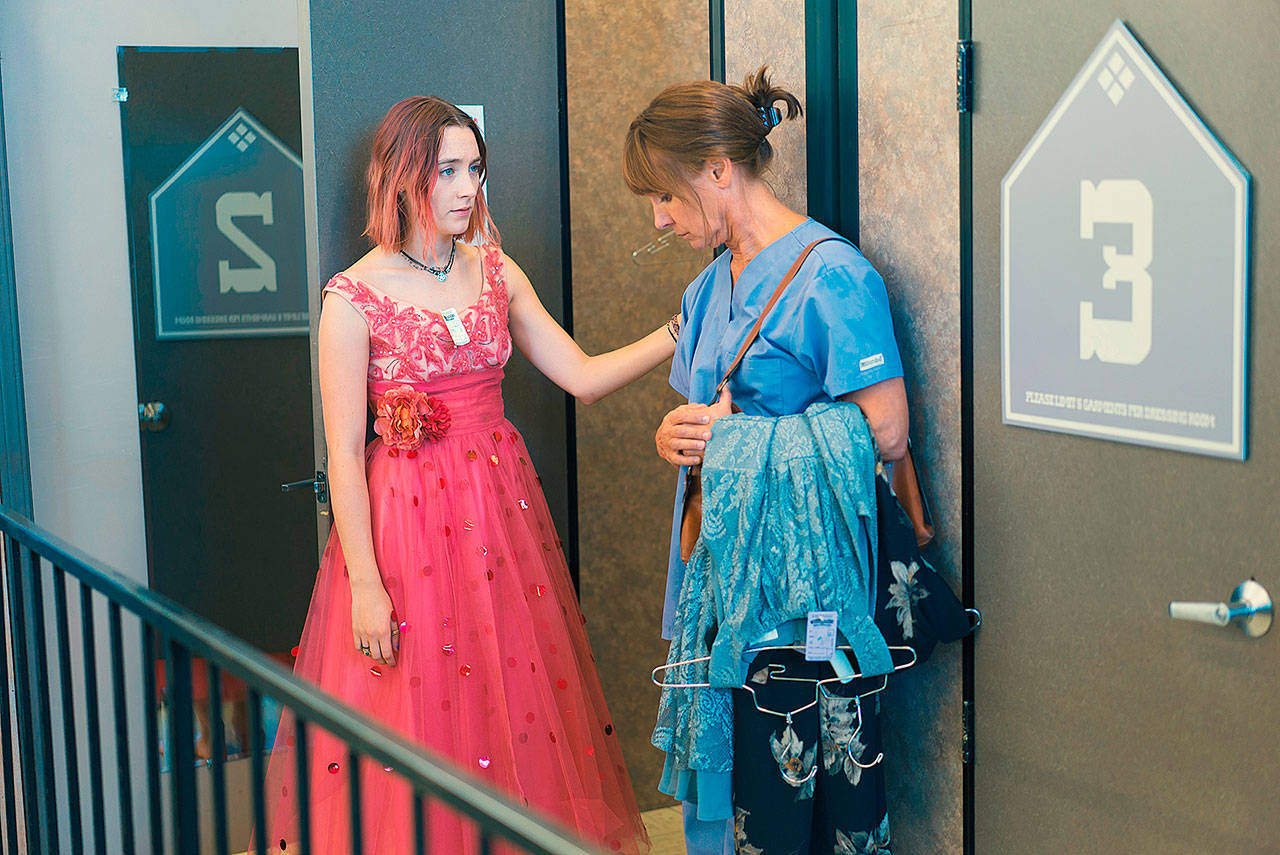 "Saoirse Ronan, left, and Laurie Metcalf in a scene from the movie ""Lady Bird."" ""I could respond to the material immediately,"" says Metcalf of her role as the title character's mother. (Photo by Merie Wallace / A24)"