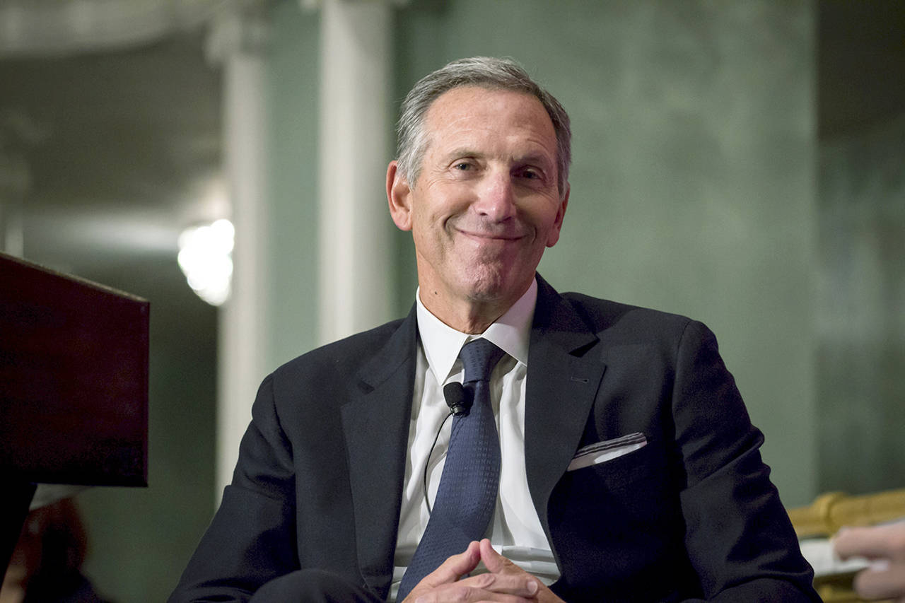 Howard Schultz, chairman and founder of Starbucks, is seen during a conference at the Economic Club of New York in May 2017. (Michael Nagle / Bloomberg, file)