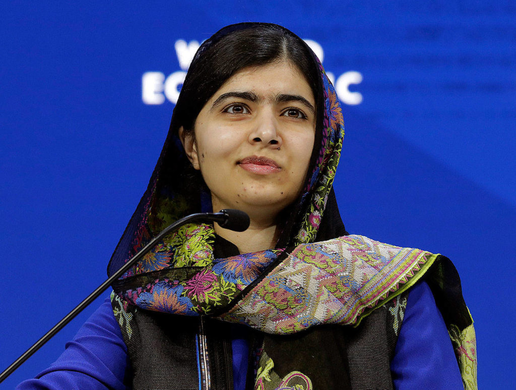 In this Jan. 25 photo, Nobel laureate Malala Yousafzai attends the annual meeting of the World Economic Forum in Davos, Switzerland. (AP Photo/Markus Schreiber, File)