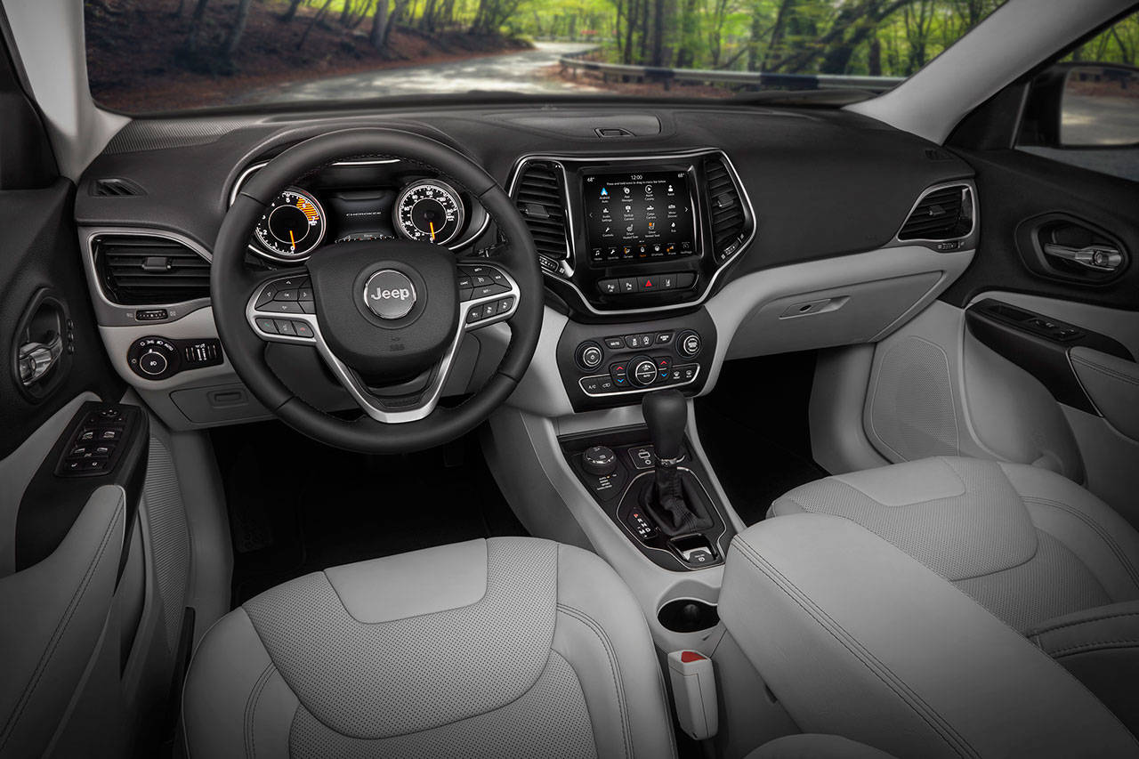 Interior updates for the 2019 Jeep Cherokee include a new fourth-generation Uconnect infotainment system with Apple CarPlay and Android Auto compatibility. (Manufacturer photo)