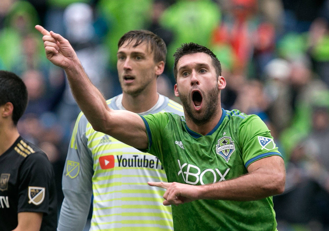 Sounders' forward Will Bruin reacts to a waved off goal on the Xbox Pitch at CenturyLink Field Sunday afternoon in Seattle on March 4, 2018. Los Angeles FC won 1-0. (Kevin Clark / The Daily Herald)