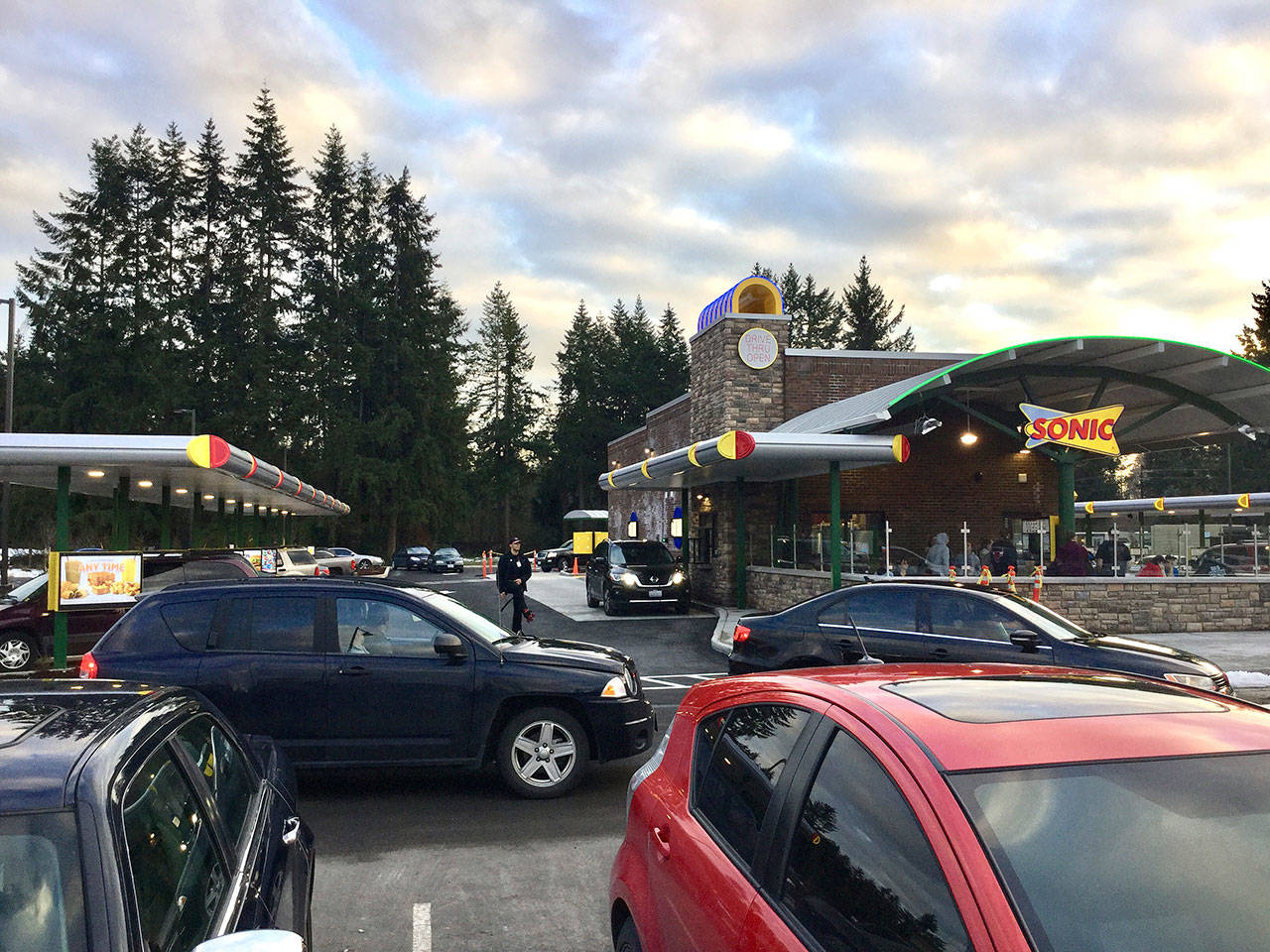 Sonic Drive-In with its slushy type drinks and its Footlong Chili Cheese Coney dogs opened in Marysville last week. (Douglas Buell / Marysville Globe)