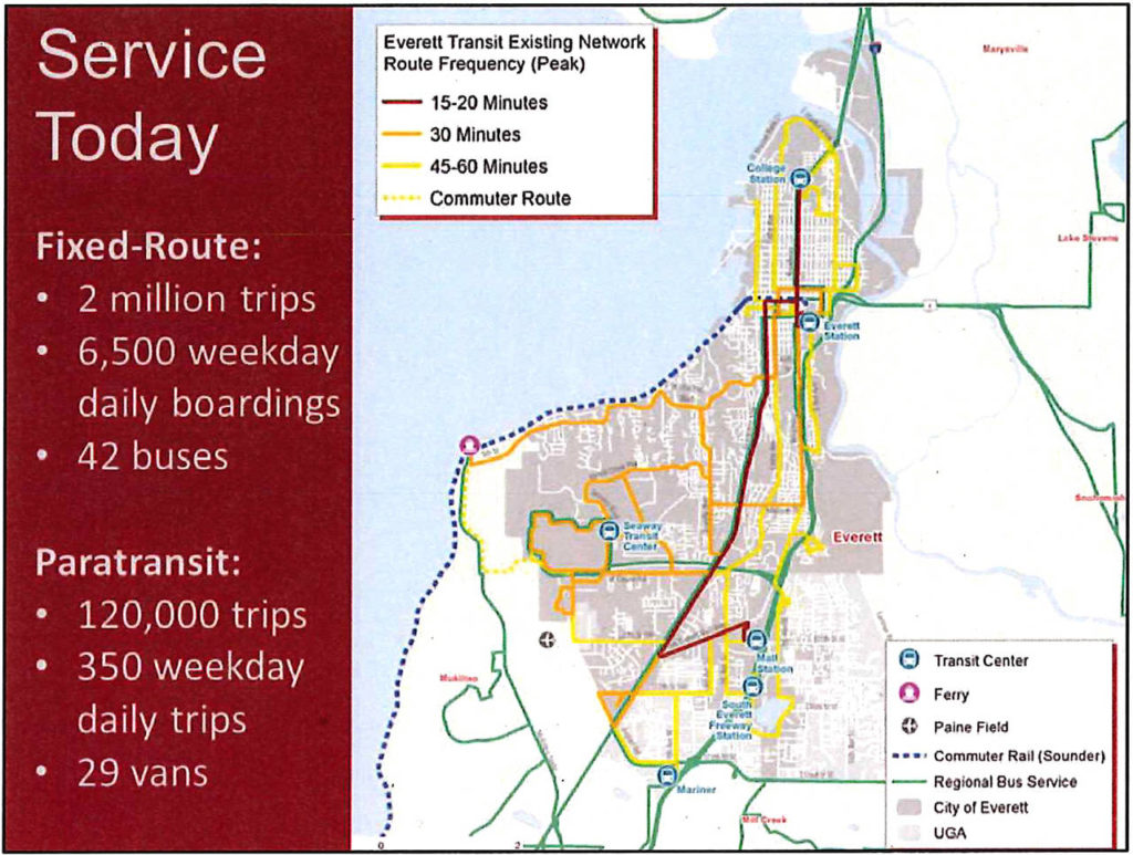Everett Transit's service routes might be changing in the years ahead. Today it has 11 routes. (Everett Transit) Everett Transit's service routes may be changing in the years ahead. Today it has 11 routes. (Everett Transit)