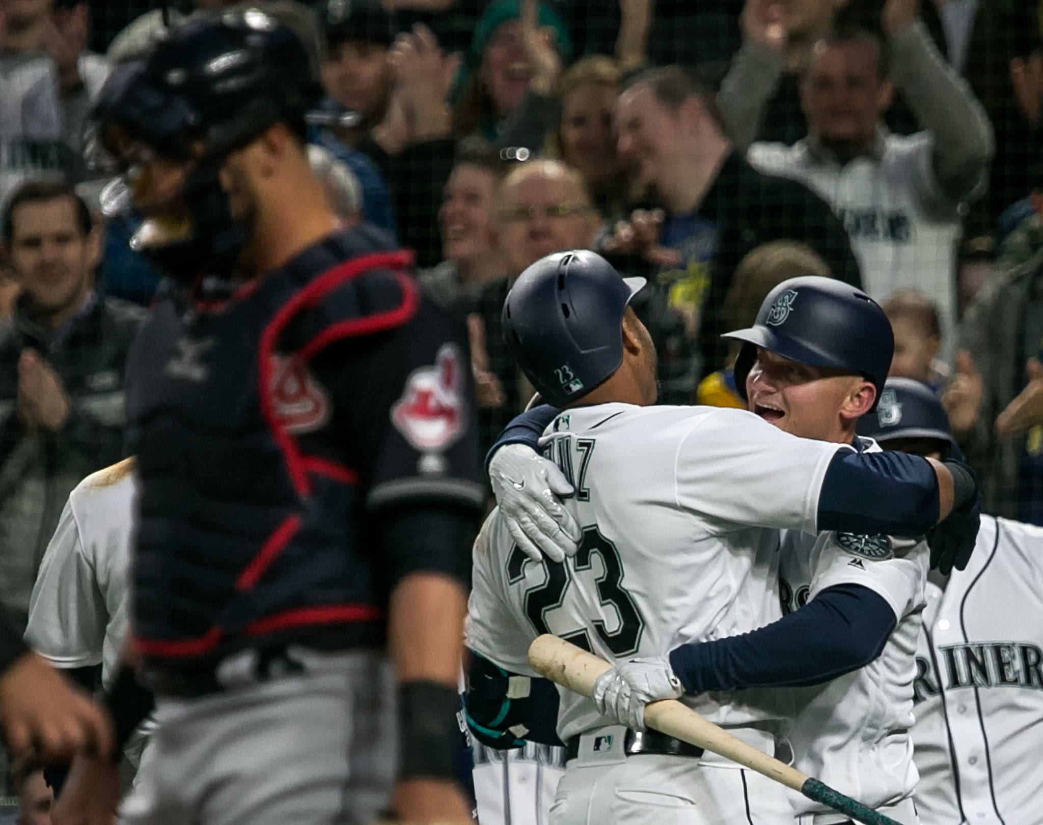 Seattle's Nelson Cruz celebrates with teammate Kyle Seager after a two-run homer in the first inning of Thursday's game at Safeco Field. (Kevin Clark / The Herald)