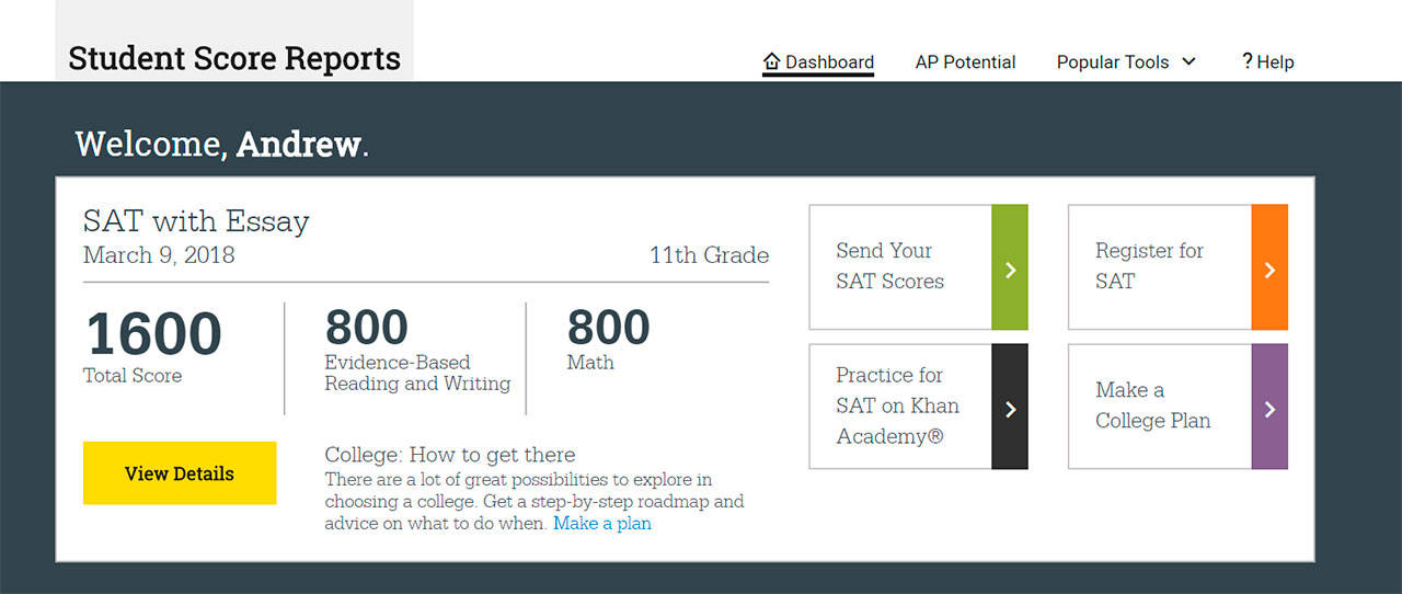 A screen grab of Andrew Shin's perfect SAT score. The Kamiak High School junior aced the exam, a rare feat for students across the country. (Image courtesy of Andrew Shin)