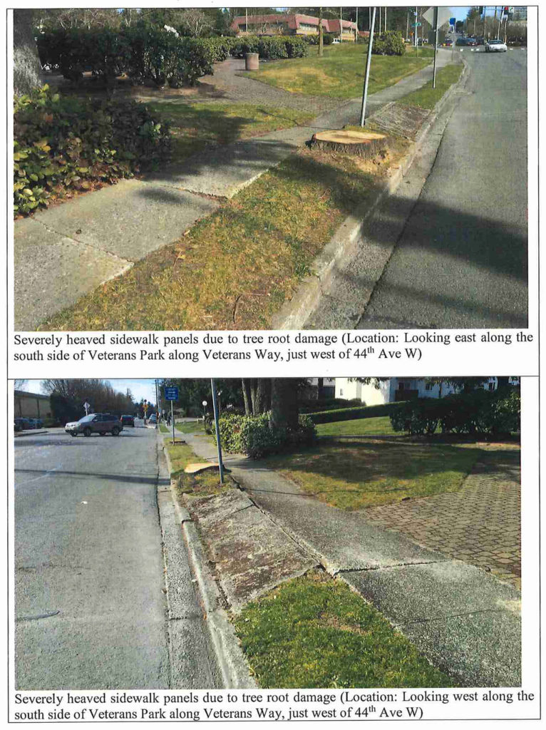 Budgeting for sidewalk improvements is one piece of the discussion about how much tax revenue is allocated for road projects in Lynnwood. (Lynnwood Transportation Benefit District)