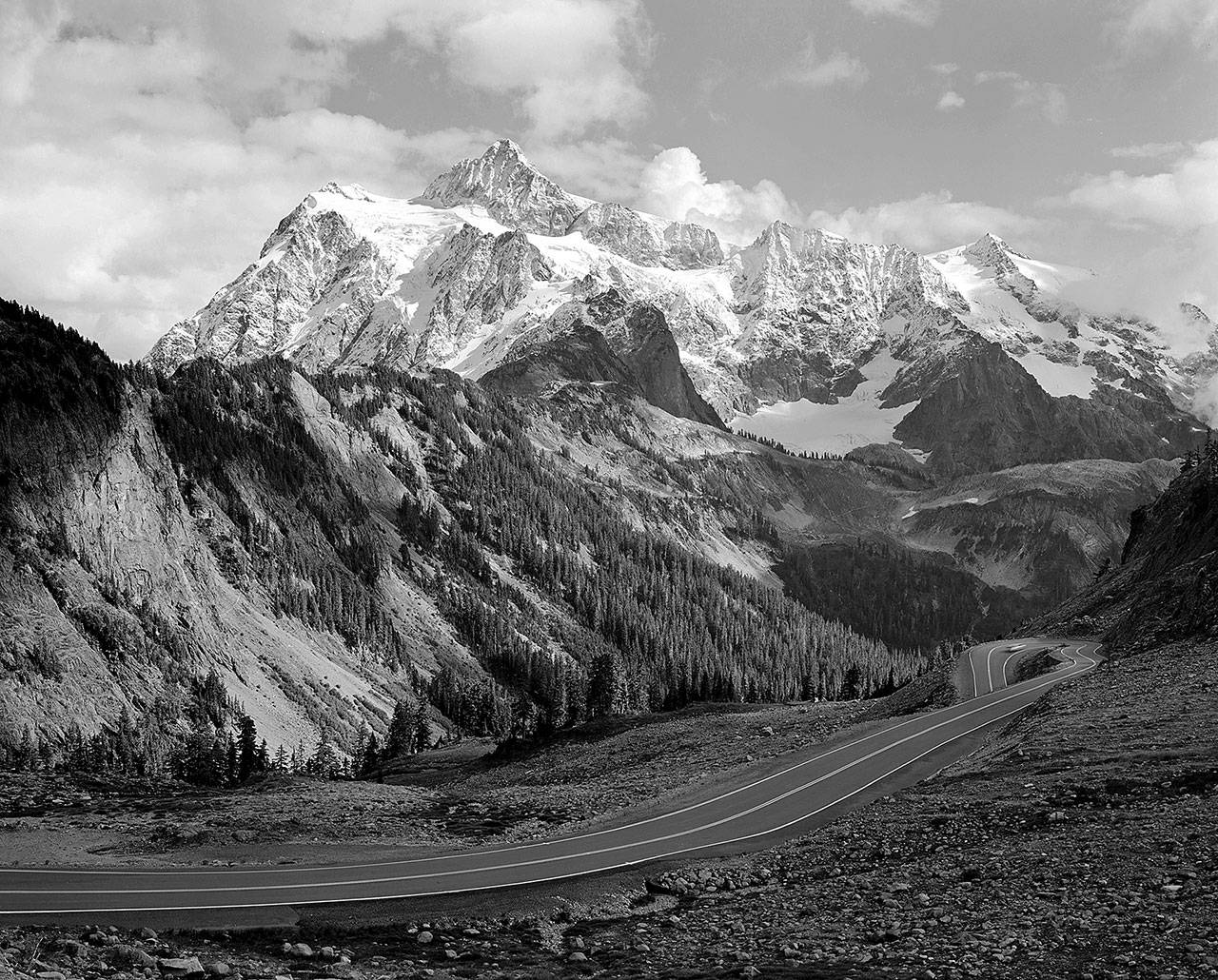 This black-and-white photo of Mount Shuksan is one of 45 by Norman Riley on display at the Everett Community College's Russell Day Gallery.