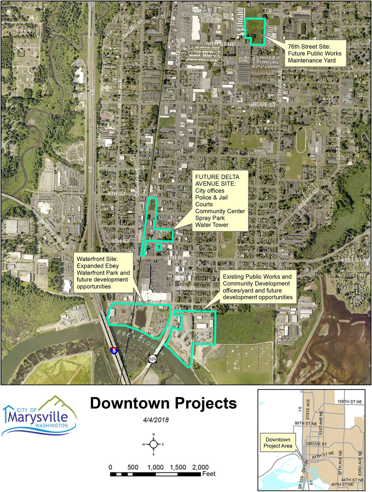 The city of Marysville hopes to build a new police station and jail as part of a civic campus in the next few years. The map shows some of the moving parts that could occur. (City of Marysville)