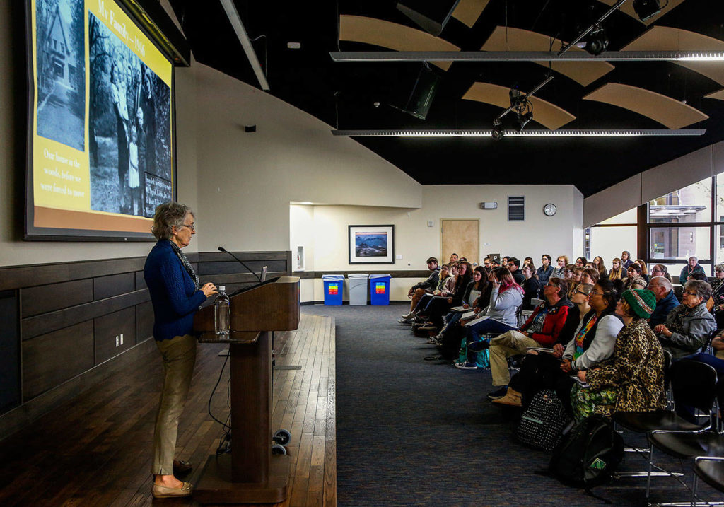 In EvCC's Jackson Center Wilderness Room, Ingrid Steppic, who was born during Nazi occupation of The Netherlands, talks about her partents helping hide 40 Jews. Her father warned others not to register but to hide. (Dan Bates / The Herald)