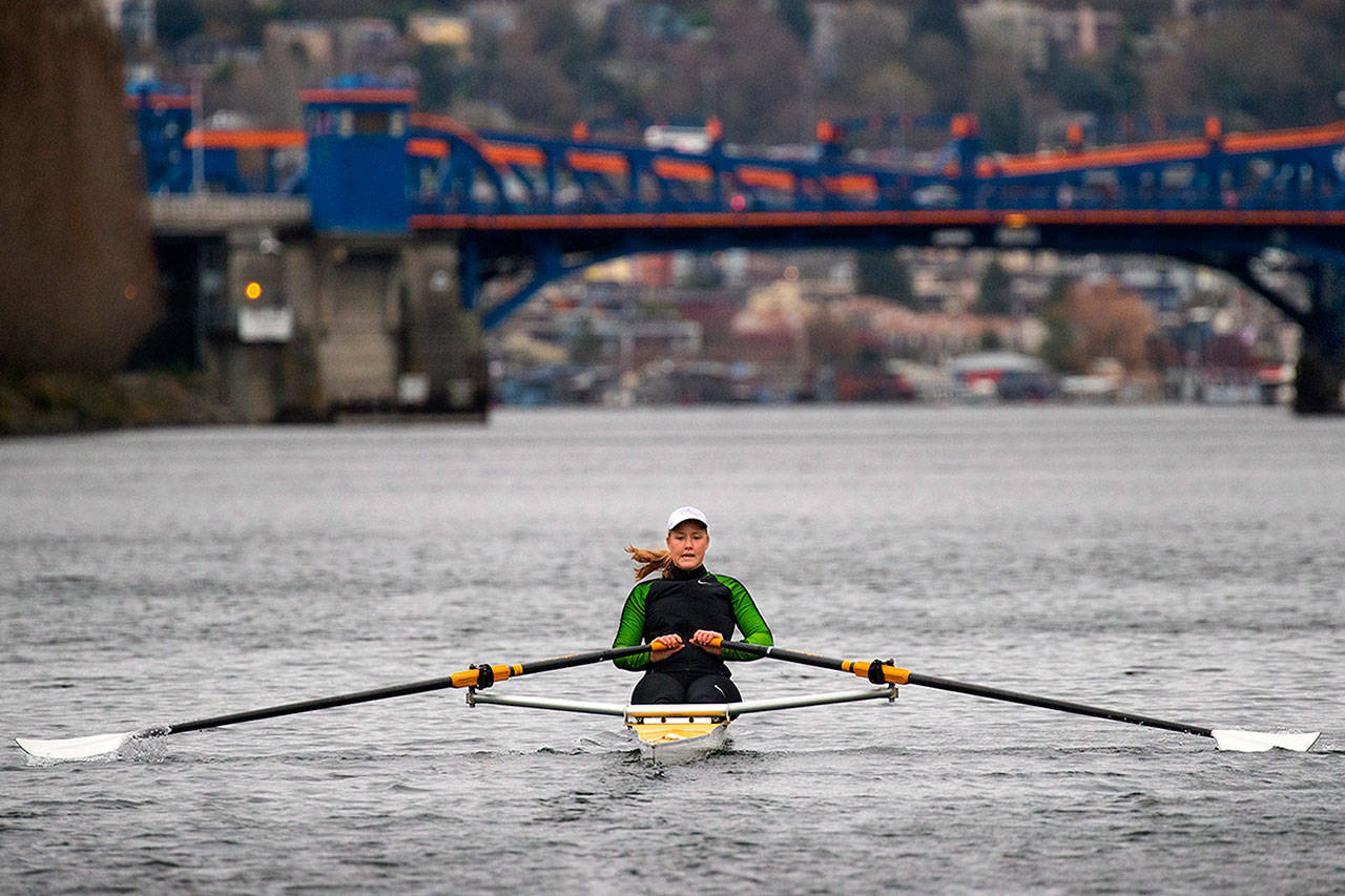 Eliza Dawson trains at the Seattle Rowing Center on Thursday, March 29, 2018. (Mike Siegel / The Seattle Times via AP)