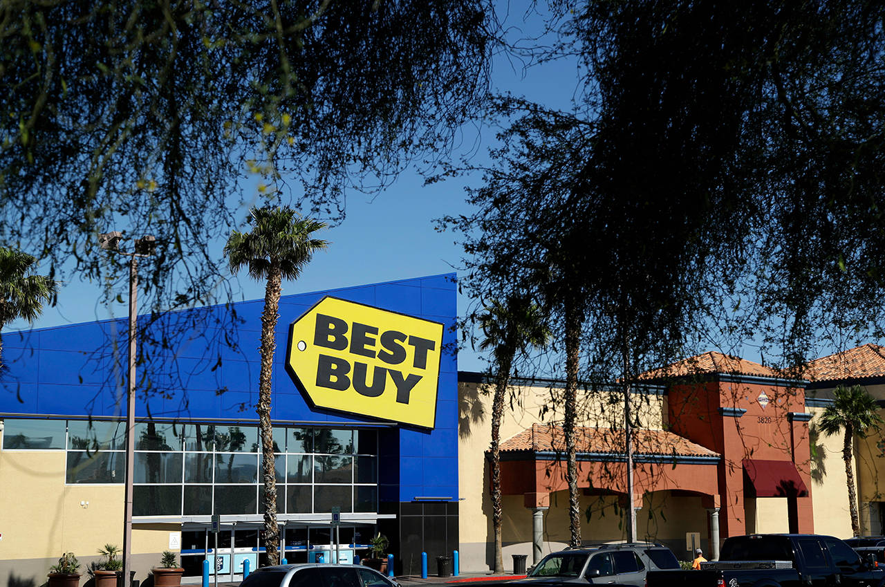 Amazon announced Wednesday that it's teaming with consumer electronics retailer Best Buy on new Fire TV Edition smart tvs. (AP Photo/John Locher, File)