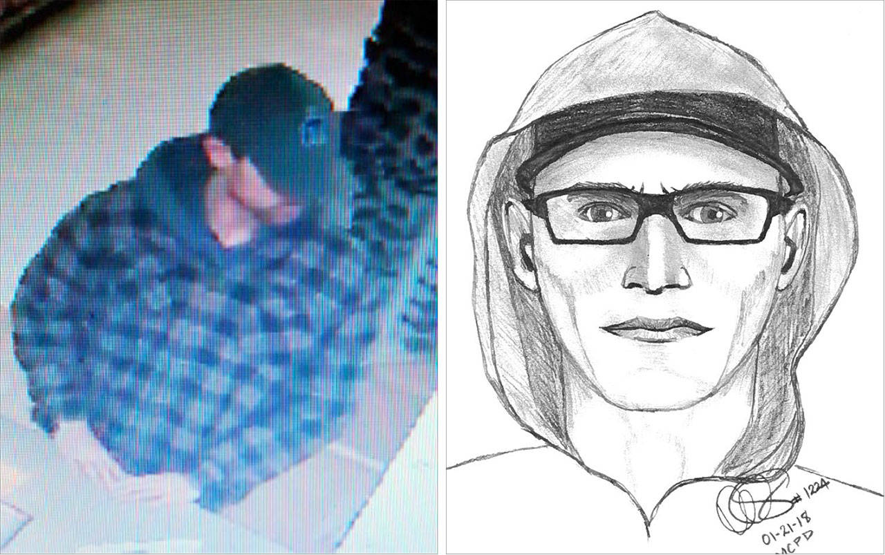 Mill Creek police are seeking a man suspected of several robberies at pharmacies and Rite Aid stores in Bothell, Lynnwood and Mill Creek over the past several months. He is described as in his 20s or 30s, about 5 feet 9 inches tall, with brown or light blond hair and green eyes. (Mill Creek Police Department)