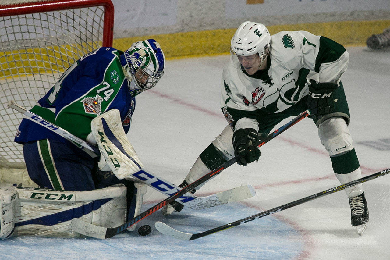 The Silvertips' Martin Fasko-Rudas works to score with Swift Current's Stuart Skinner defending during Game 5 of the WHL championship series on May 11, 2018, at Angel of the Winds Arena in Everett. (Kevin Clark / The Herald)