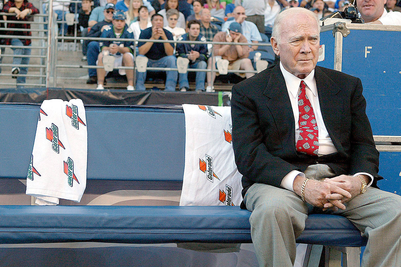 Former Seattle Seahawks head coach Chuck Knox died Saturday, May 12, 2018. He was inducted in the Seahawks Ring of Honor in August 2005, after leading the team to its first playoff berth and the AFC title game in 1983. (Jennifer Buchanan / Herald file)