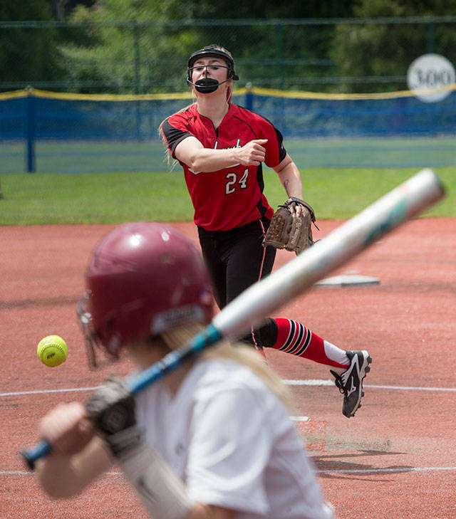Marysville Pilchuck's McKenzie Justice pitches to a Pairie batter during a 3A state tournament game on May 25, 2018, at the Regional Athletic Complex in Lacey. (Andy Bronson / The Herald)