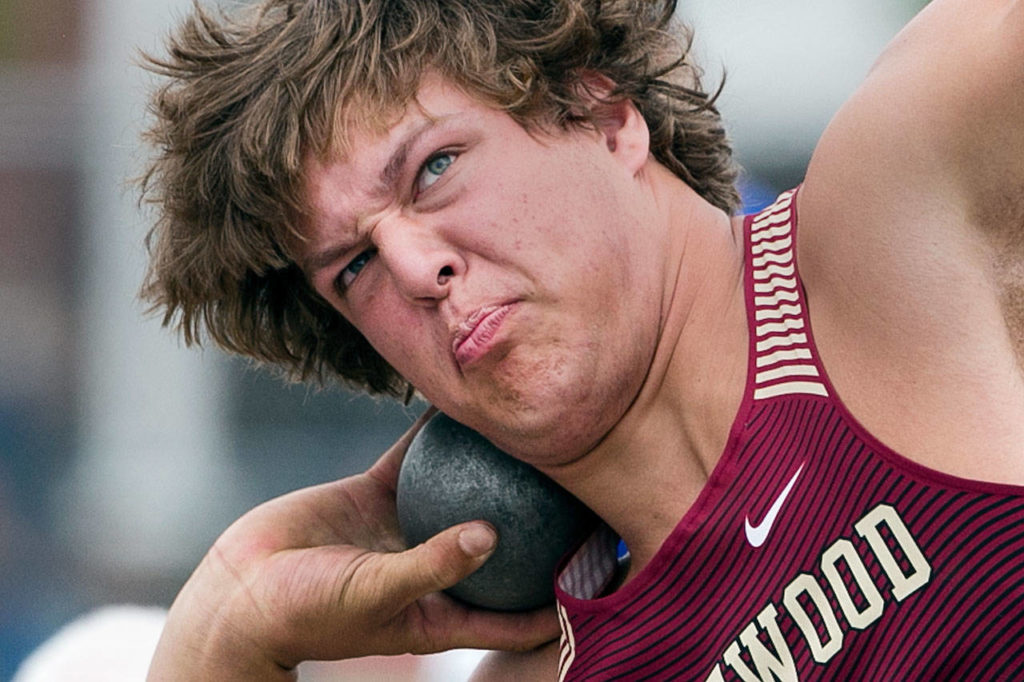Lakewood's Jon Cox competes in the 2A shot put during the state track and field championships on May 25, 2018, at Mount Tahoma High School in Tacoma. (Kevin Clark / The Herald)