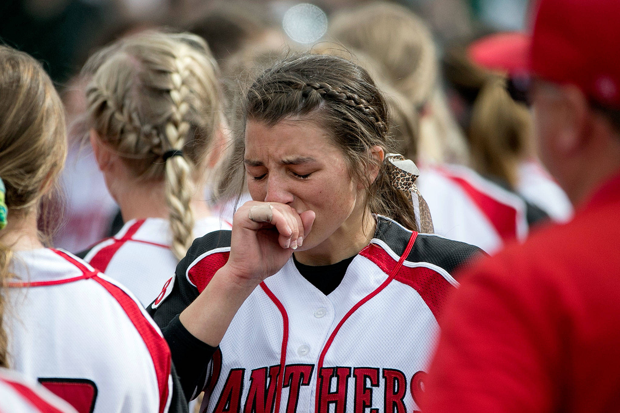 Snohomish's Bailey Greenlee reacts Saturday after the Panthers lost to Bonney Lake in the 3A softball championship game at the Regional Athletic Complex in Lacey. (Kevin Clark / The Herald)