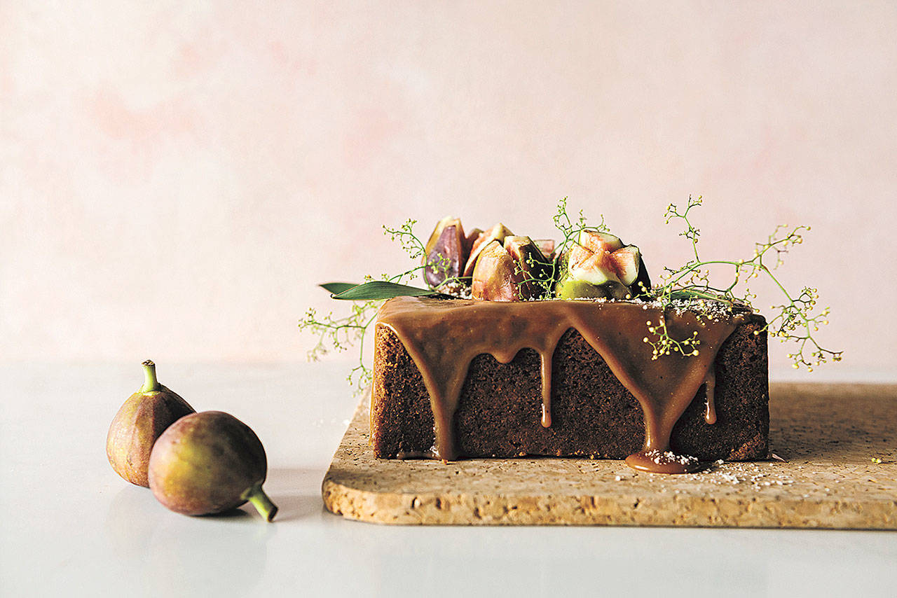 Serve porcini caramel and chestnut cake topped with slices of fresh figs and a sprig of field flowers. (Photo by Elisa Watson)