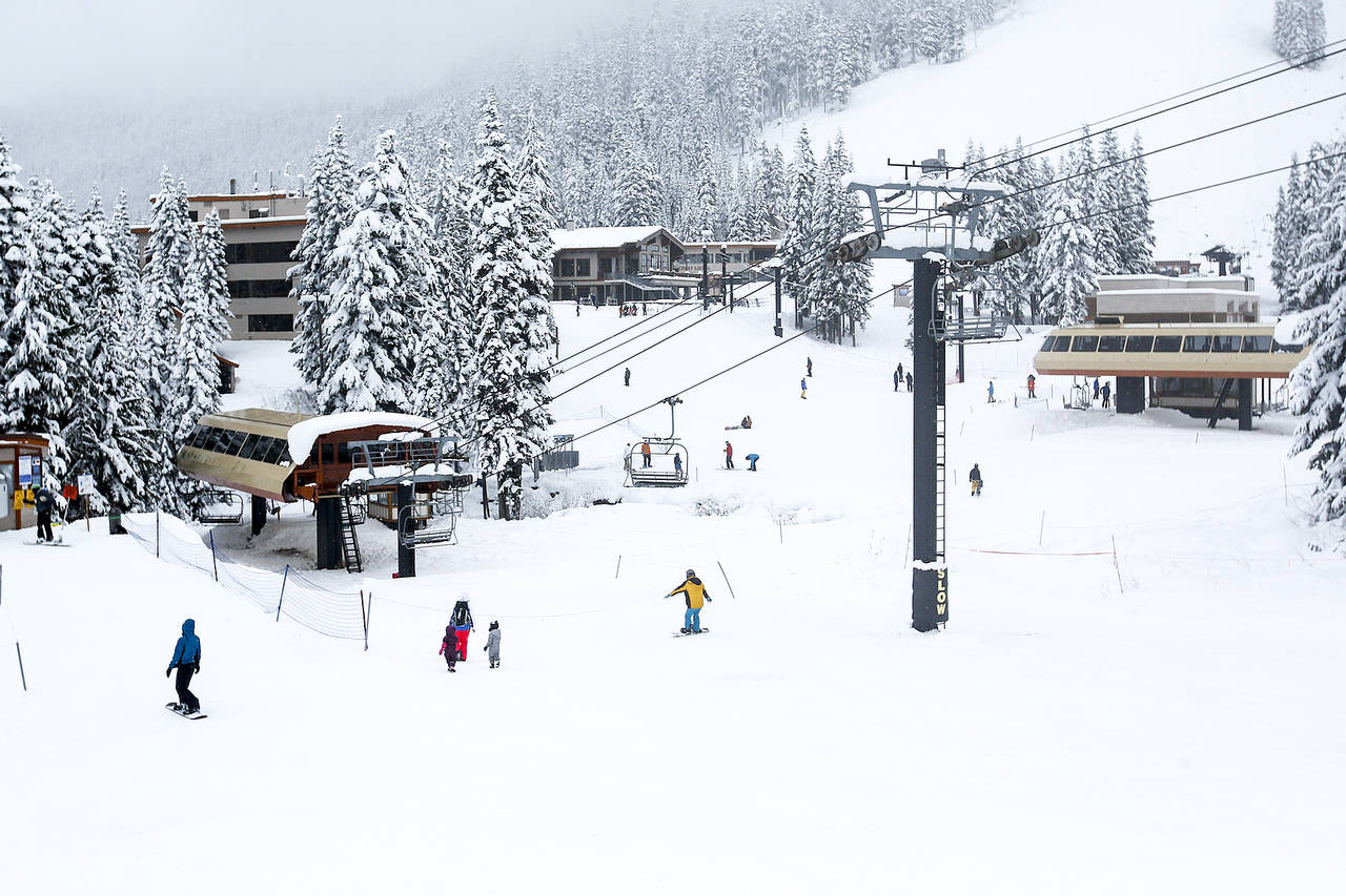 The base of Stevens Pass on opening day last Nov. 16. (Ian Terry / The Herald)
