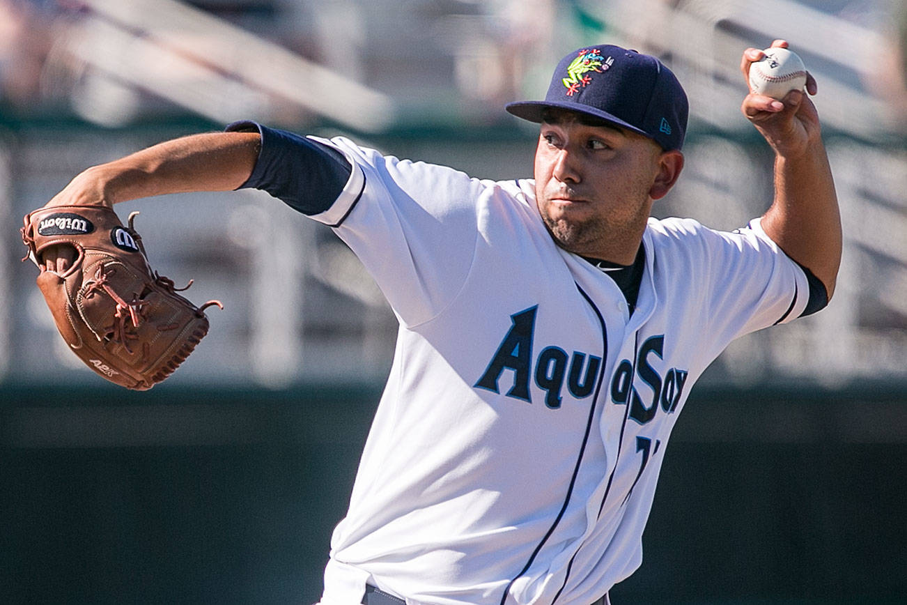 Aquasox's Orlando Razo throws a pitch Sunday afternoon at Everett Memorial Stadium in Everett on June 17, 2018. (Kevin Clark / The Herald)