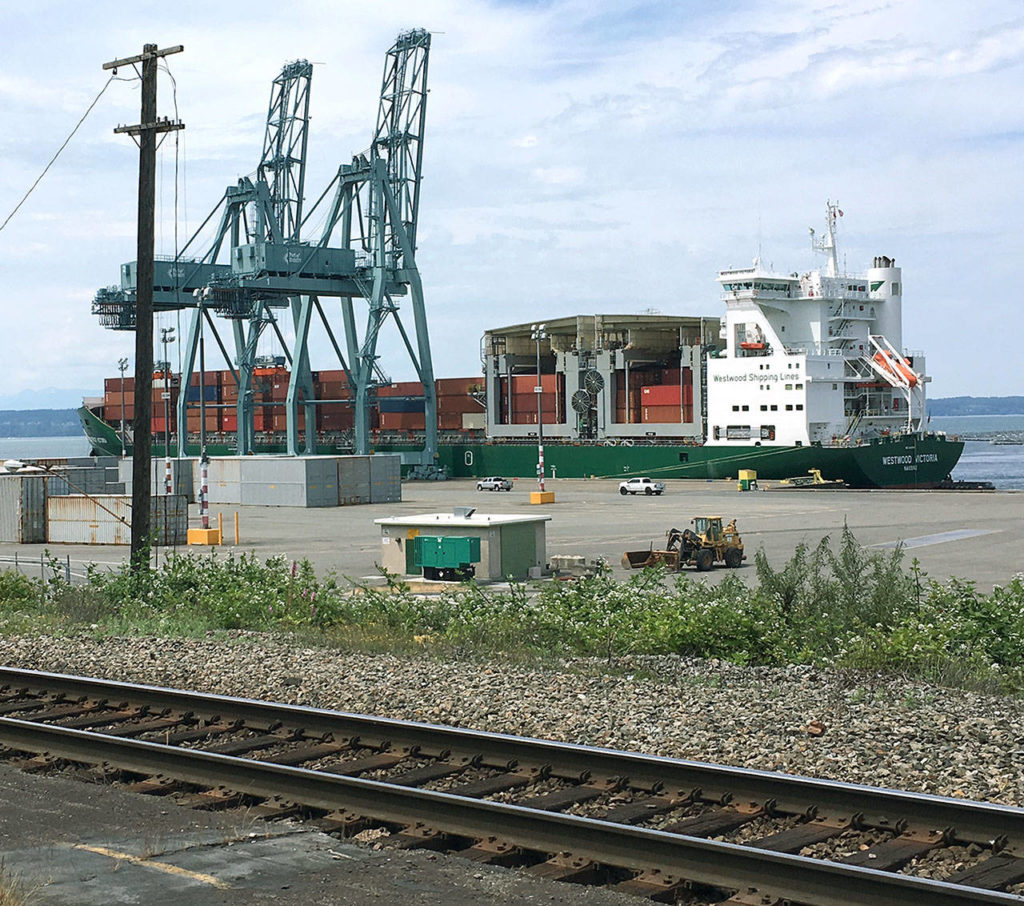 The container ship Westwood Victoria at the Port of Everett in June. (Janice Podsada / The Herald)