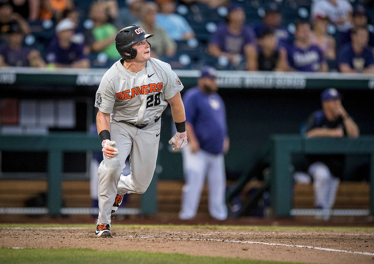 Oregon State designated hitter Kyle Nobach, a graduate of Marysville Pilchuck High School, hit a three-run home run in the Beavers' win over Washington at the 2018 College World Series. (Oregon State University photo)