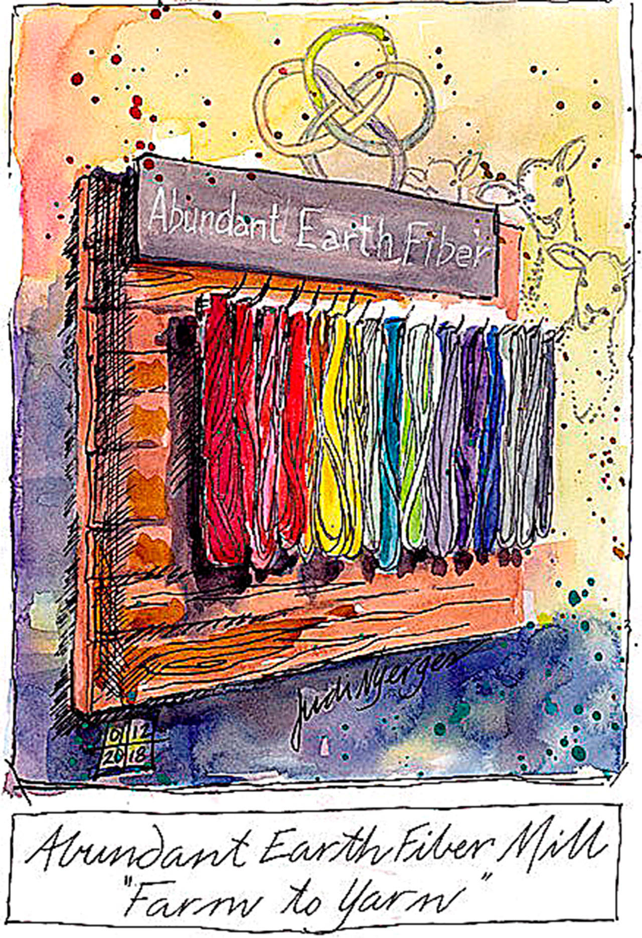 """Judy Nyerges created the sketch and watercolor """"Abundant Earth Fiber Mill."""""""