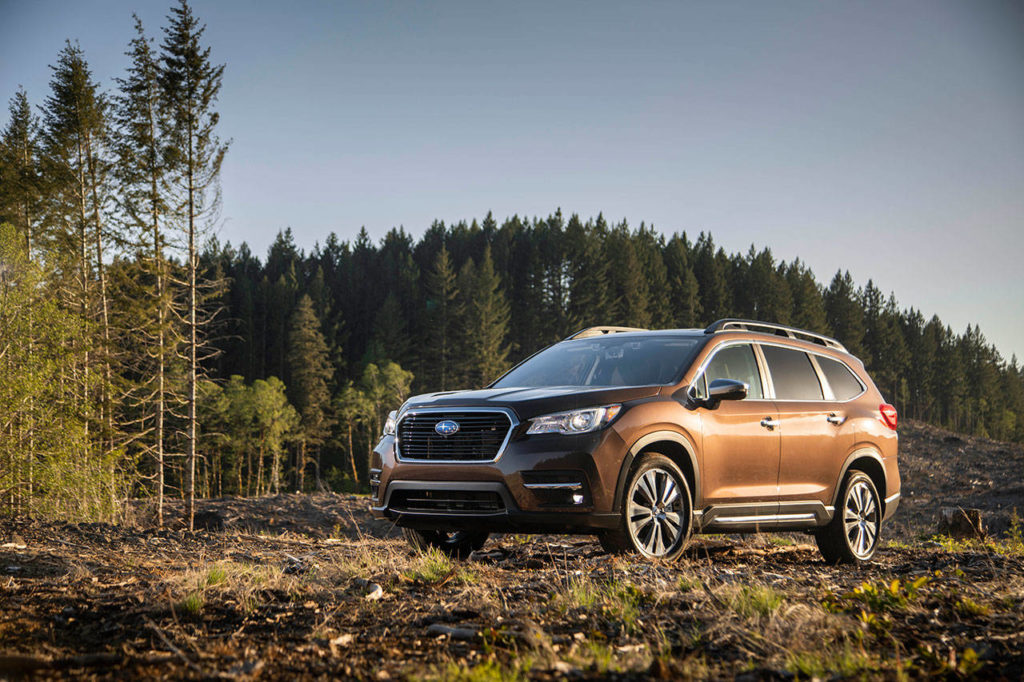 The all-new Subaru Ascent midsize SUV has three rows of seats, with a choice of captain's chairs or a bench for second-row seating. (Manufacturer photo)