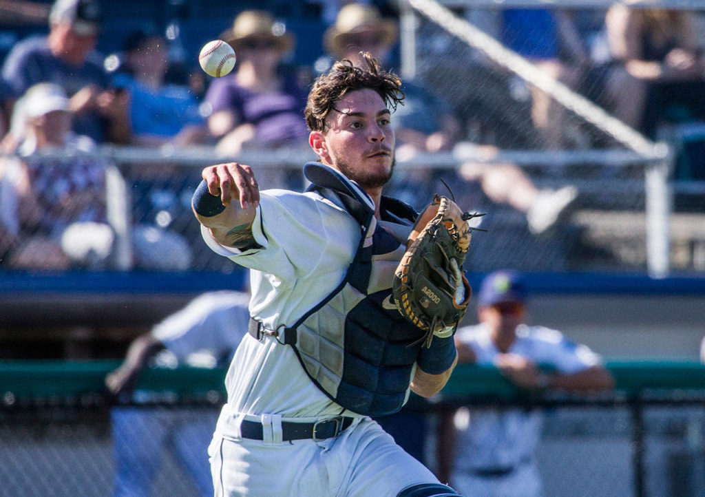 Aquasox's Geoandry Montilla throws the ball to second base during the game at Everett Memorial Stadium on Sunday, July 15, 2018 in Everett, Wa. (Olivia Vanni / The Herald)